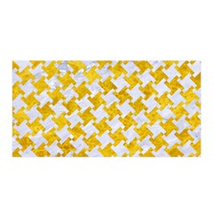 Houndstooth2 White Marble & Yellow Marble Satin Wrap by trendistuff