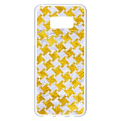 Houndstooth2 White Marble & Yellow Marble Samsung Galaxy S8 Plus White Seamless Case by trendistuff