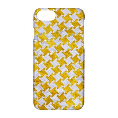 Houndstooth2 White Marble & Yellow Marble Apple Iphone 8 Hardshell Case by trendistuff