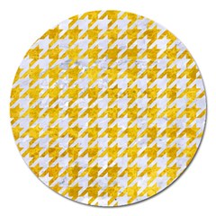 Houndstooth1 White Marble & Yellow Marble Magnet 5  (round) by trendistuff
