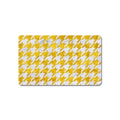 Houndstooth1 White Marble & Yellow Marble Magnet (name Card) by trendistuff