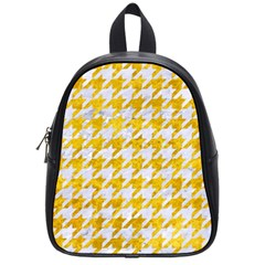 Houndstooth1 White Marble & Yellow Marble School Bag (small)