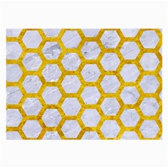 Hexagon2 White Marble & Yellow Marble (r) Large Glasses Cloth (2 Side) by trendistuff
