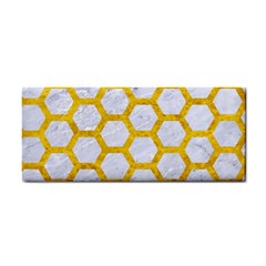 Hexagon2 White Marble & Yellow Marble (r) Cosmetic Storage Cases by trendistuff
