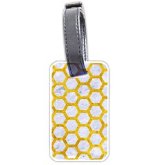 Hexagon2 White Marble & Yellow Marble (r) Luggage Tags (two Sides) by trendistuff