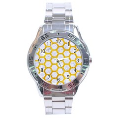 Hexagon2 White Marble & Yellow Marble (r) Stainless Steel Analogue Watch by trendistuff