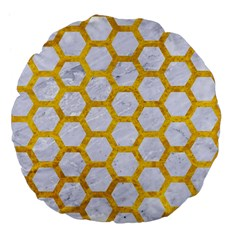 Hexagon2 White Marble & Yellow Marble (r) Large 18  Premium Flano Round Cushions by trendistuff