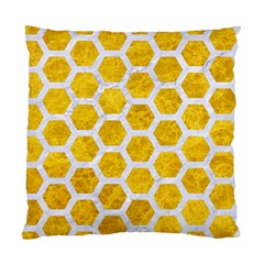 Hexagon2 White Marble & Yellow Marble Standard Cushion Case (two Sides) by trendistuff