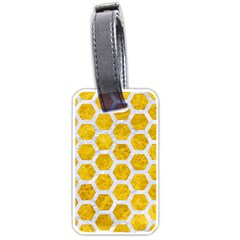 Hexagon2 White Marble & Yellow Marble Luggage Tags (two Sides) by trendistuff