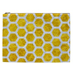 Hexagon2 White Marble & Yellow Marble Cosmetic Bag (xxl)  by trendistuff