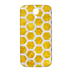Hexagon2 White Marble & Yellow Marble Samsung Galaxy S4 I9500/i9505  Hardshell Back Case