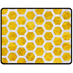 Hexagon2 White Marble & Yellow Marble Double Sided Fleece Blanket (medium)  by trendistuff
