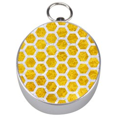 Hexagon2 White Marble & Yellow Marble Silver Compasses by trendistuff