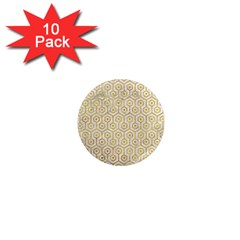 Hexagon1 White Marble & Yellow Marble (r) 1  Mini Magnet (10 Pack)  by trendistuff