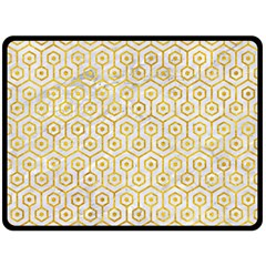 Hexagon1 White Marble & Yellow Marble (r) Fleece Blanket (large)  by trendistuff