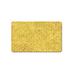 Hexagon1 White Marble & Yellow Marble Magnet (name Card) by trendistuff