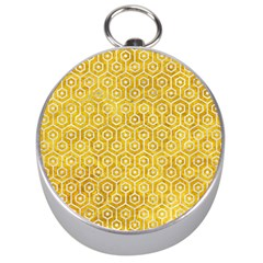 Hexagon1 White Marble & Yellow Marble Silver Compasses by trendistuff