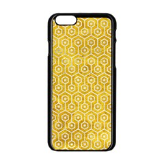Hexagon1 White Marble & Yellow Marble Apple Iphone 6/6s Black Enamel Case by trendistuff