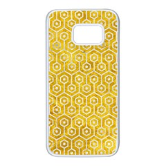 Hexagon1 White Marble & Yellow Marble Samsung Galaxy S7 White Seamless Case by trendistuff
