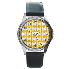 Diamond1 White Marble & Yellow Marble Round Metal Watch by trendistuff