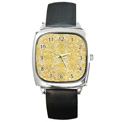 Damask2 White Marble & Yellow Marble (r) Square Metal Watch by trendistuff