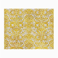 Damask2 White Marble & Yellow Marble (r) Small Glasses Cloth by trendistuff