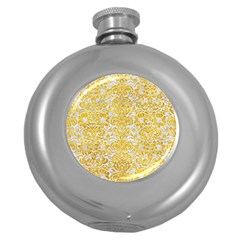 Damask2 White Marble & Yellow Marble (r) Round Hip Flask (5 Oz) by trendistuff