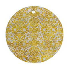 Damask2 White Marble & Yellow Marble (r) Round Ornament (two Sides) by trendistuff