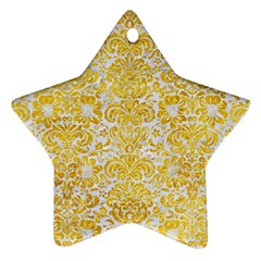 Damask2 White Marble & Yellow Marble (r) Star Ornament (two Sides) by trendistuff