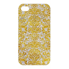 Damask2 White Marble & Yellow Marble (r) Apple Iphone 4/4s Hardshell Case by trendistuff