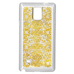 Damask2 White Marble & Yellow Marble (r) Samsung Galaxy Note 4 Case (white) by trendistuff