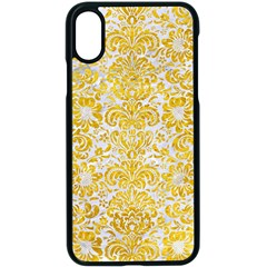 Damask2 White Marble & Yellow Marble (r) Apple Iphone X Seamless Case (black) by trendistuff