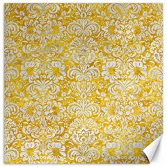 Damask2 White Marble & Yellow Marble Canvas 12  X 12   by trendistuff