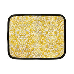 Damask2 White Marble & Yellow Marble Netbook Case (small)