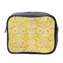 Damask2 White Marble & Yellow Marble Mini Toiletries Bag 2 Side by trendistuff