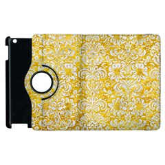 Damask2 White Marble & Yellow Marble Apple Ipad 3/4 Flip 360 Case by trendistuff
