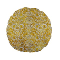 Damask2 White Marble & Yellow Marble Standard 15  Premium Flano Round Cushions by trendistuff