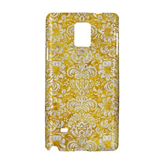 Damask2 White Marble & Yellow Marble Samsung Galaxy Note 4 Hardshell Case by trendistuff