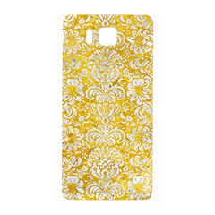 Damask2 White Marble & Yellow Marble Samsung Galaxy Alpha Hardshell Back Case by trendistuff