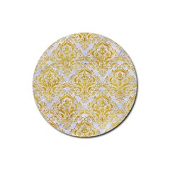 Damask1 White Marble & Yellow Marble (r) Rubber Round Coaster (4 Pack)  by trendistuff