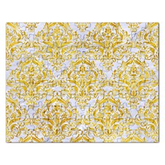 Damask1 White Marble & Yellow Marble (r) Rectangular Jigsaw Puzzl