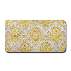 Damask1 White Marble & Yellow Marble (r) Medium Bar Mats by trendistuff