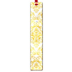 Damask1 White Marble & Yellow Marble (r) Large Book Marks