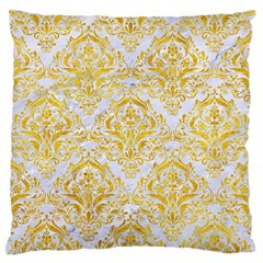 Damask1 White Marble & Yellow Marble (r) Large Flano Cushion Case (one Side) by trendistuff