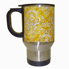 Damask1 White Marble & Yellow Marble Travel Mugs (white) by trendistuff