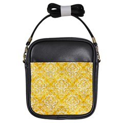 Damask1 White Marble & Yellow Marble Girls Sling Bags by trendistuff