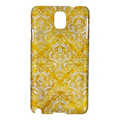 Damask1 White Marble & Yellow Marble Samsung Galaxy Note 3 N9005 Hardshell Case by trendistuff