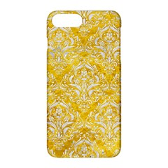 Damask1 White Marble & Yellow Marble Apple Iphone 8 Plus Hardshell Case by trendistuff
