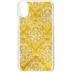 Damask1 White Marble & Yellow Marble Apple Iphone X Seamless Case (white)