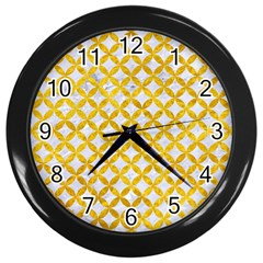 Circles3 White Marble & Yellow Marble (r) Wall Clocks (black) by trendistuff